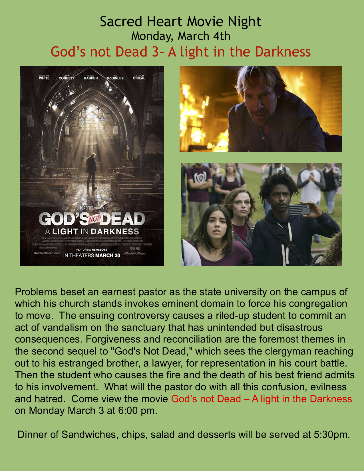 Sacred Heart Movie Night - God's Not Dead 3