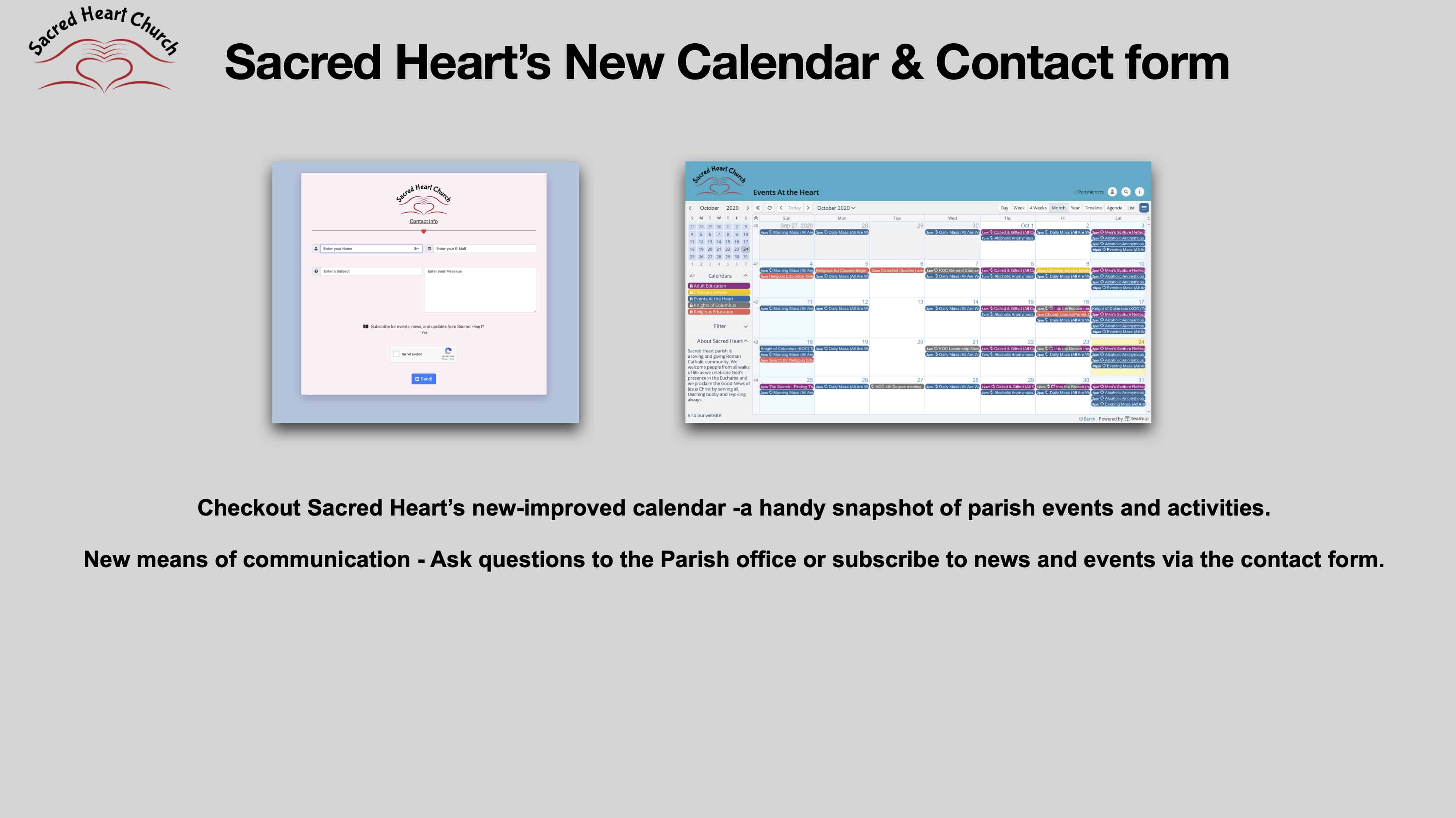 Sacred Heart's new online calendar and contact form