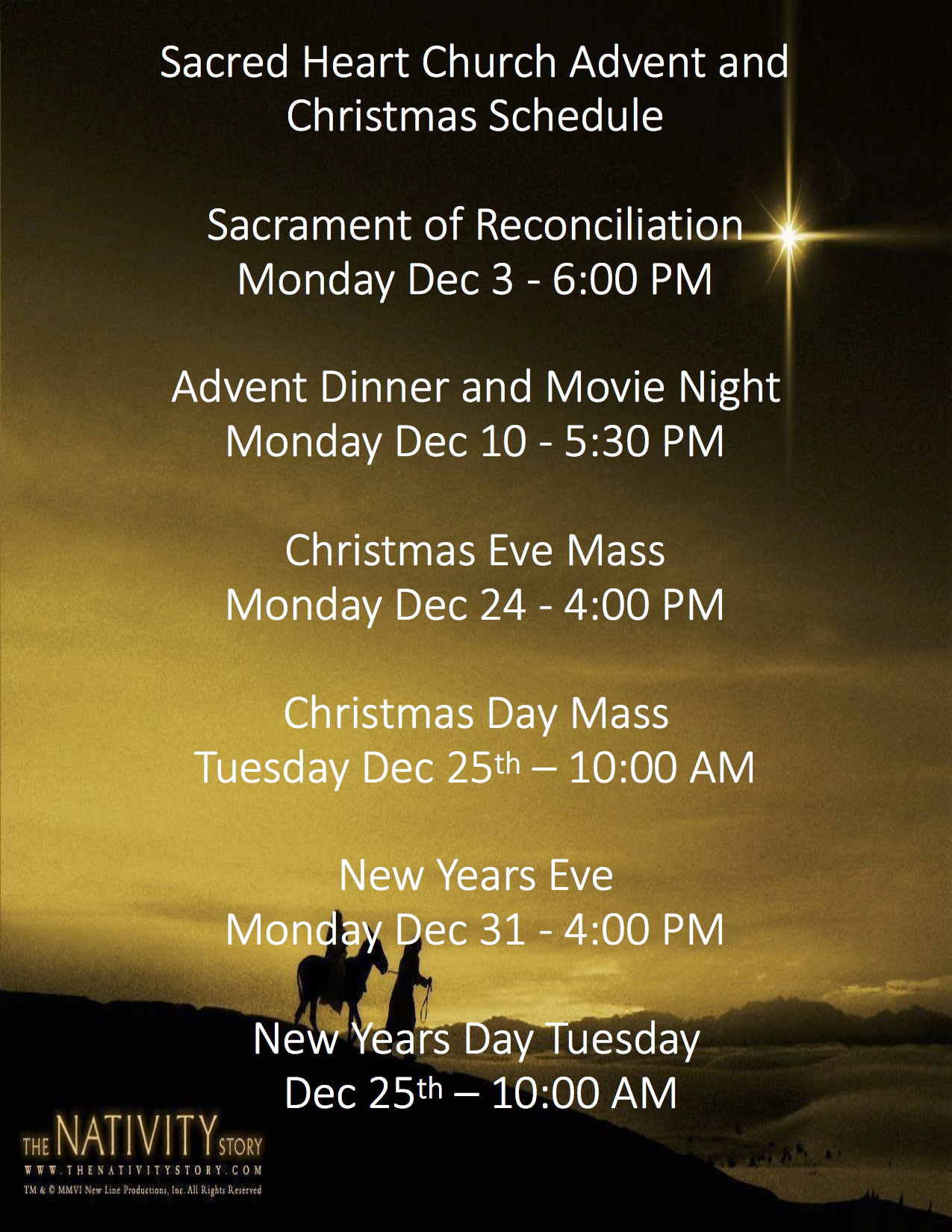 Sacred Heart Advent and Christmas Schedule